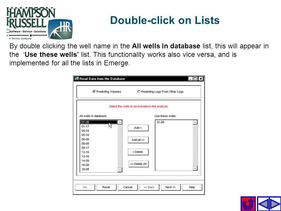 Double-click on Lists