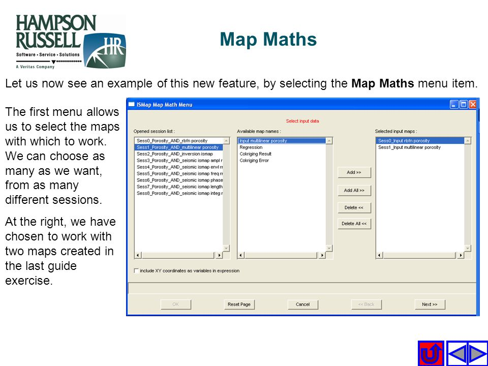 Map Maths Let us now see an example of this new feature, by selecting the Map Maths menu item.