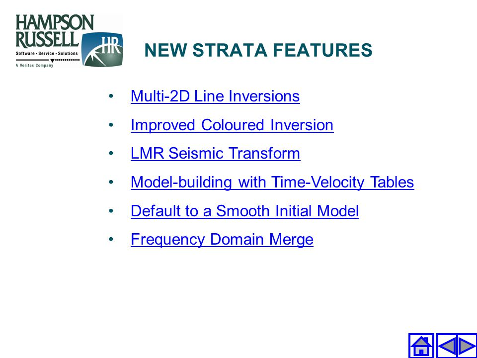 NEW STRATA FEATURES Multi-2D Line Inversions