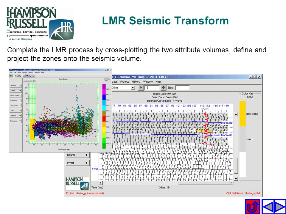 LMR Seismic Transform Complete the LMR process by cross-plotting the two attribute volumes, define and project the zones onto the seismic volume.