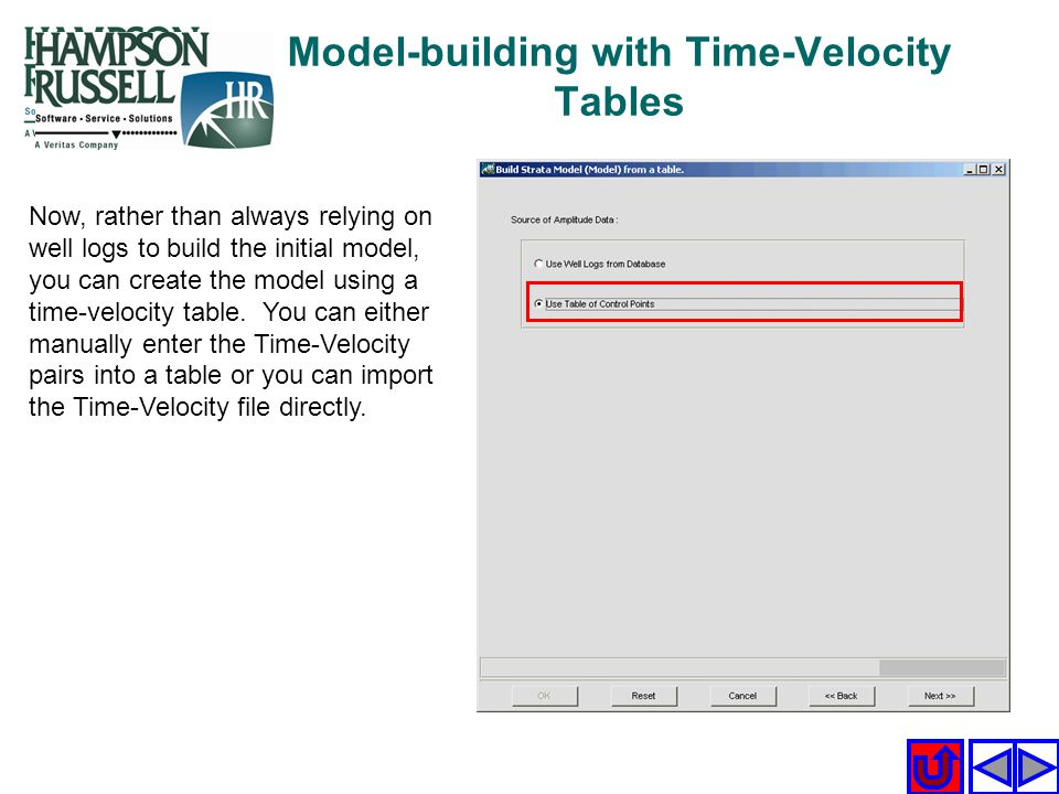 Model-building with Time-Velocity Tables