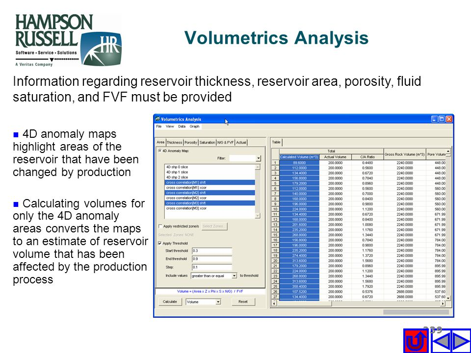 Volumetrics Analysis Information regarding reservoir thickness, reservoir area, porosity, fluid saturation, and FVF must be provided.