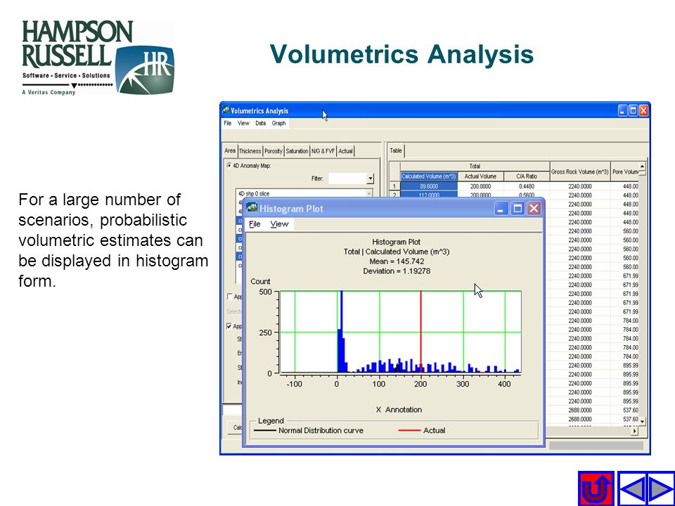 Volumetrics Analysis For a large number of scenarios, probabilistic volumetric estimates can be displayed in histogram form.