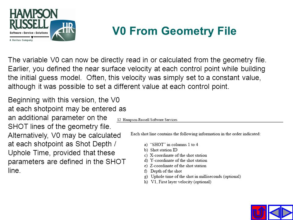 V0 From Geometry File