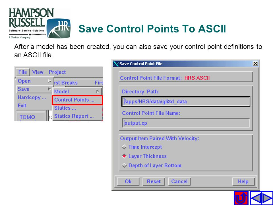 Save Control Points To ASCII