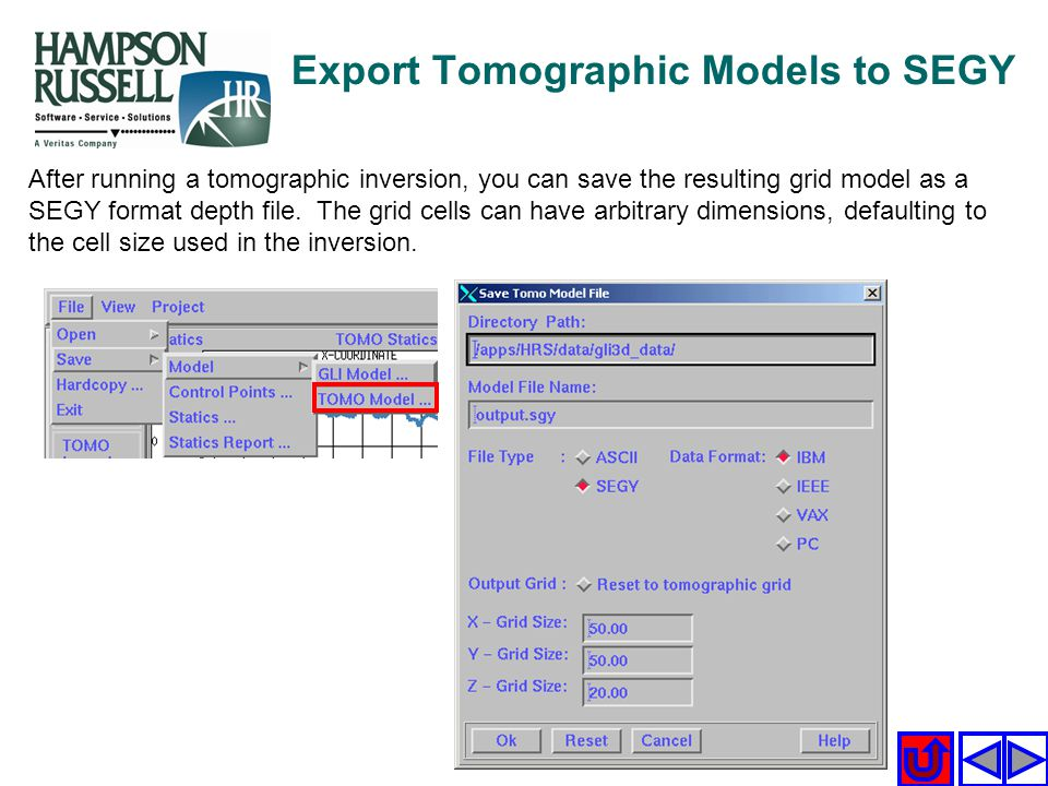 Export Tomographic Models to SEGY