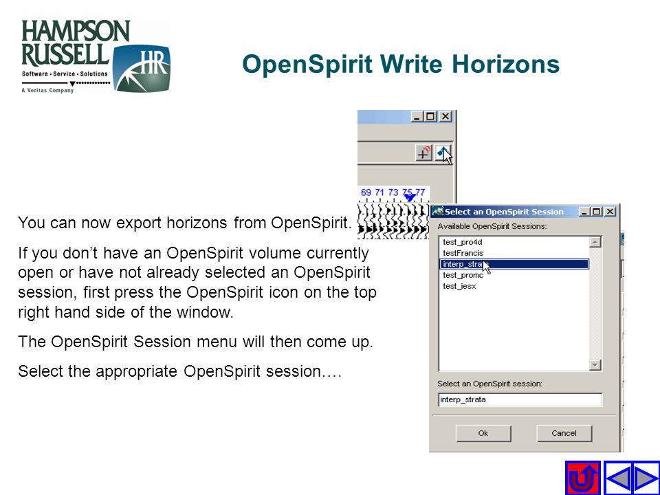 OpenSpirit Write Horizons