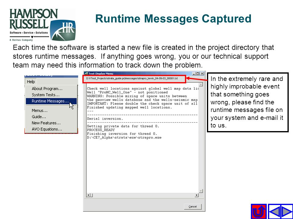 Runtime Messages Captured