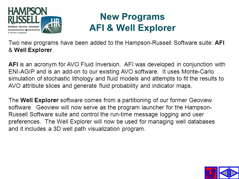 New Programs AFI & Well Explorer