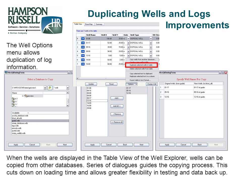Duplicating Wells and Logs Improvements