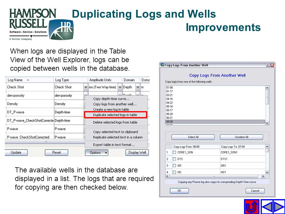 Duplicating Logs and Wells Improvements