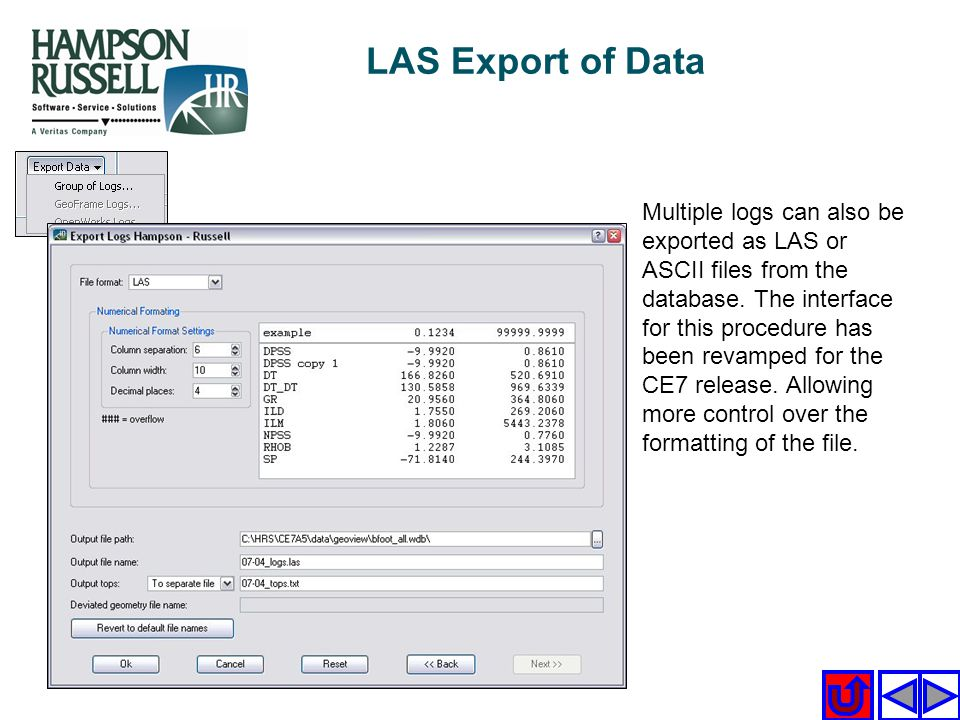 LAS Export of Data