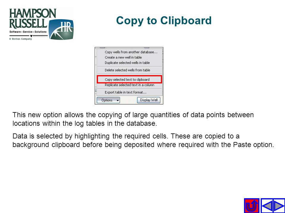 Copy to Clipboard This new option allows the copying of large quantities of data points between locations within the log tables in the database.