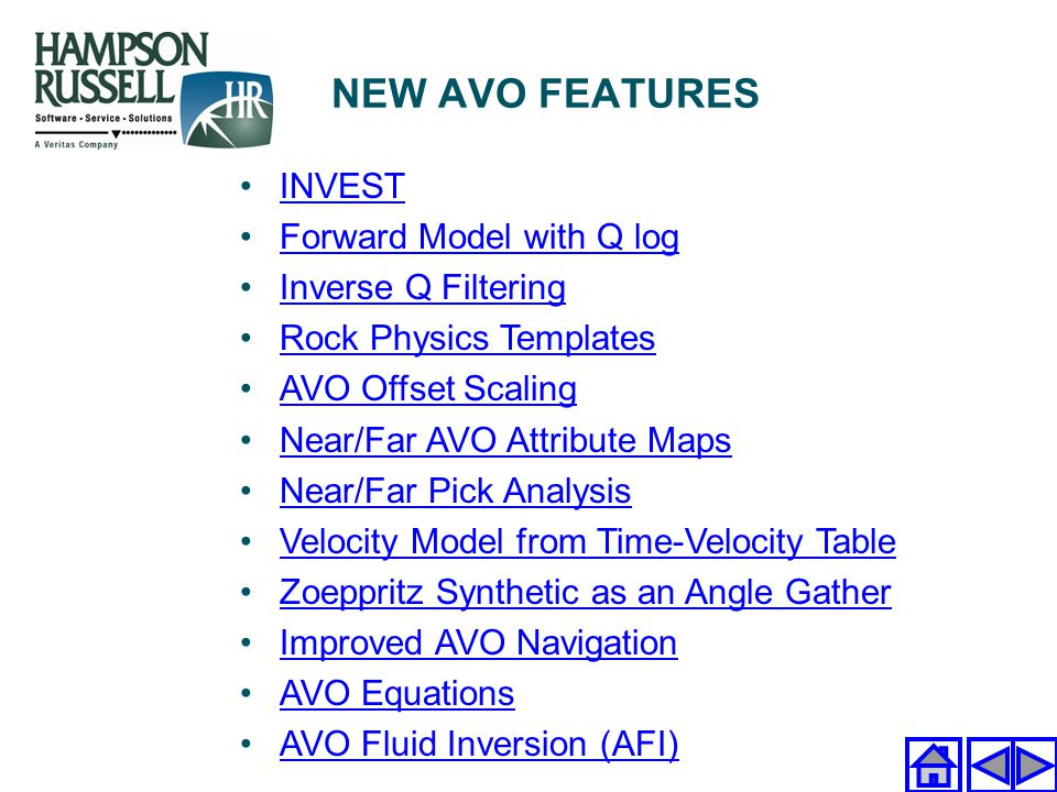 NEW AVO FEATURES INVEST Forward Model with Q log Inverse Q Filtering