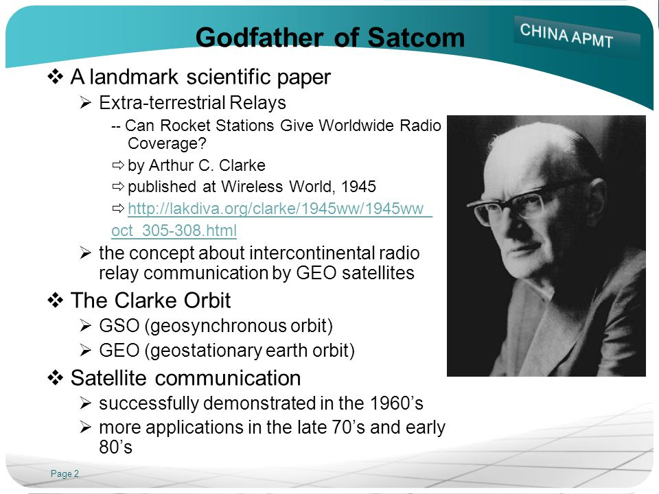 Godfather of Satcom A landmark scientific paper The Clarke Orbit