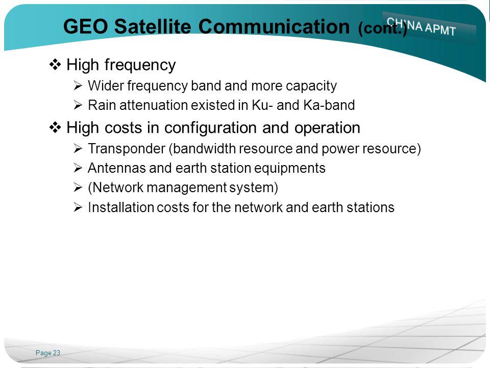GEO Satellite Communication (cont.)