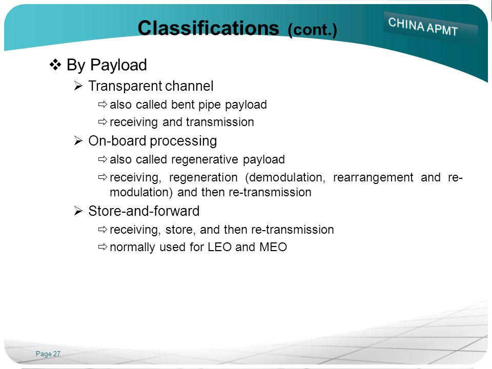 Classifications (cont.)