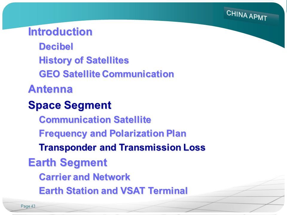 Introduction Antenna Space Segment Earth Segment Decibel