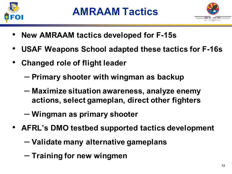 AMRAAM Tactics New AMRAAM tactics developed for F-15s