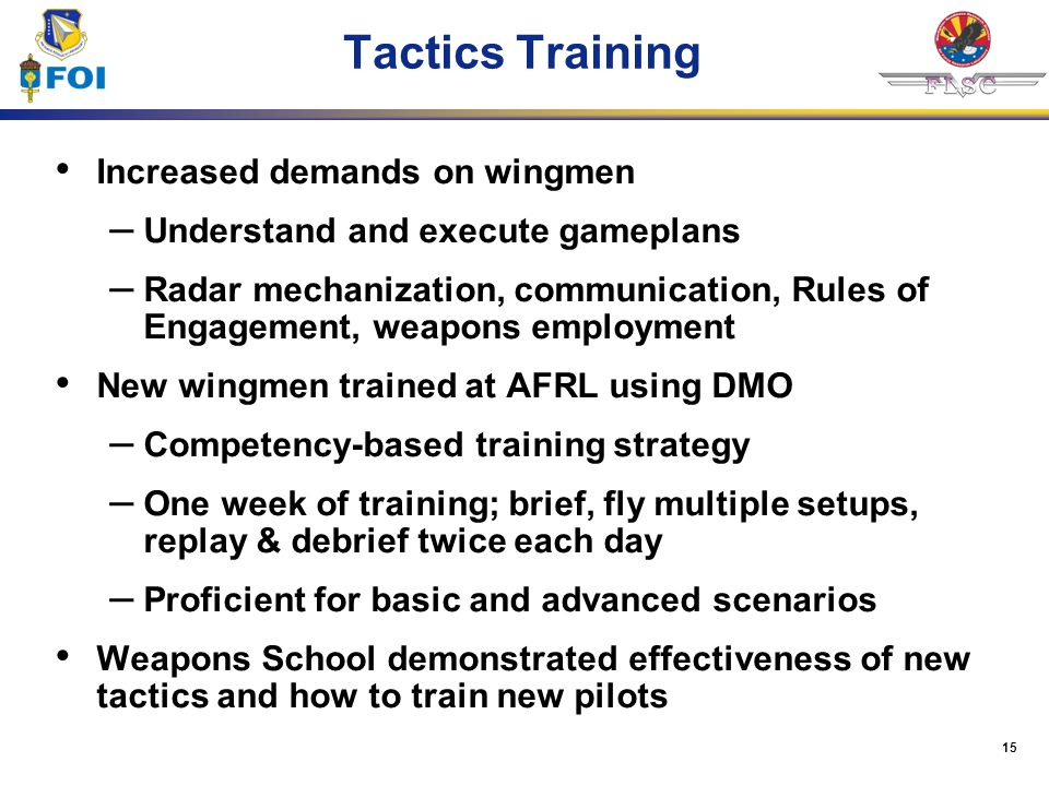Tactics Training Increased demands on wingmen