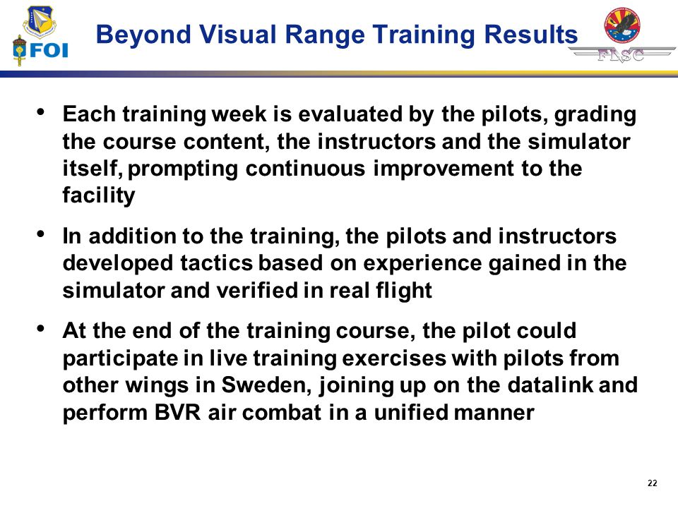 Beyond Visual Range Training Results