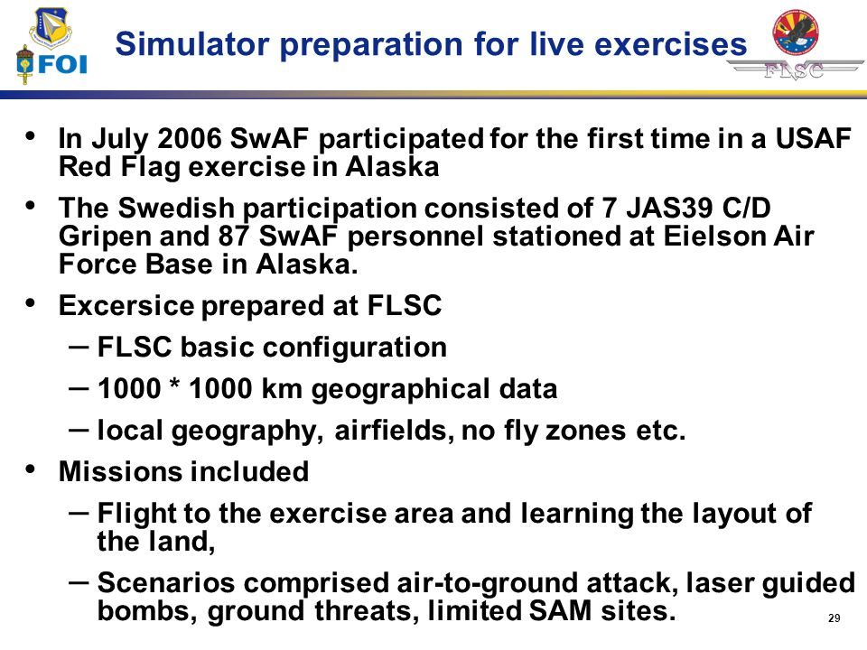 Simulator preparation for live exercises