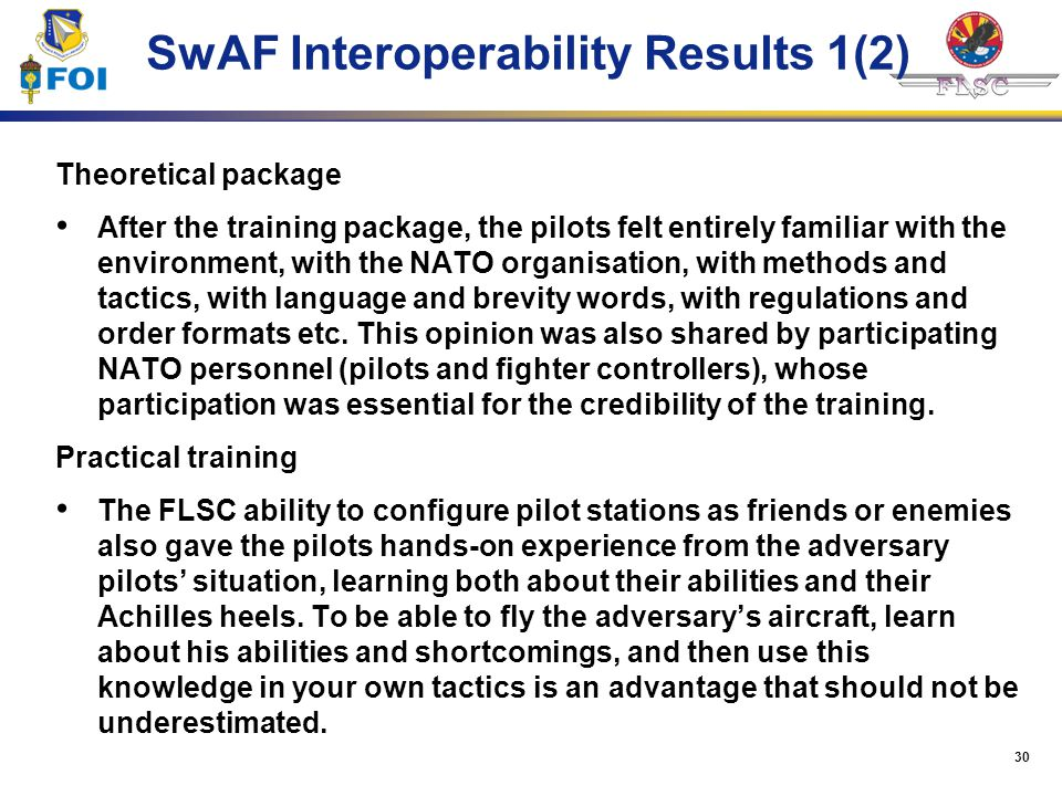 SwAF Interoperability Results 1(2)