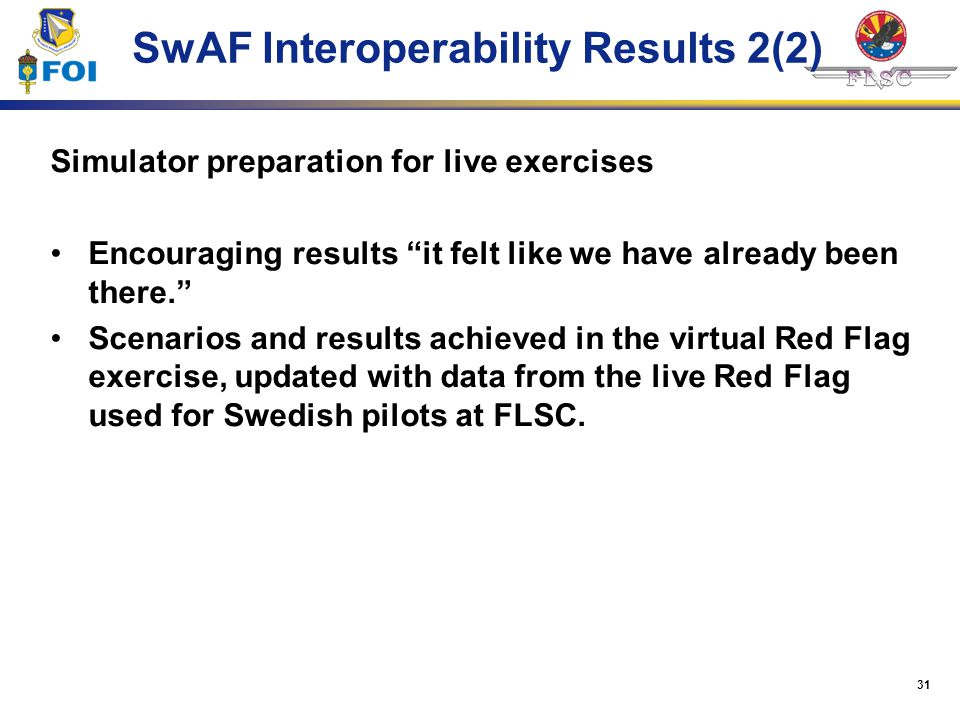 SwAF Interoperability Results 2(2)