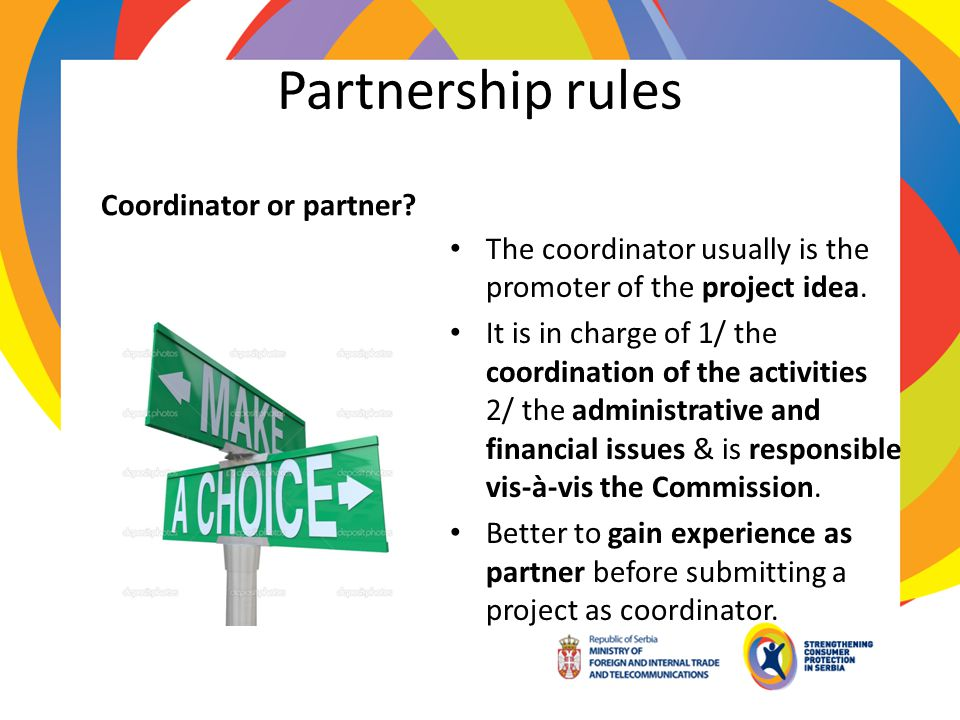 Partnership rules Coordinator or partner