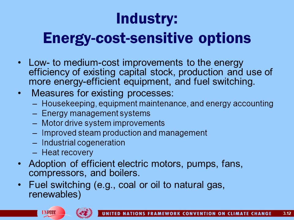 Industry: Energy-cost-sensitive options