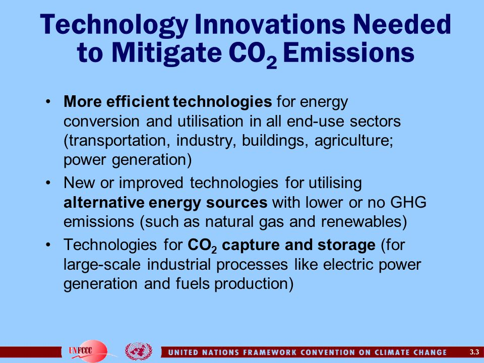 Technology Innovations Needed to Mitigate CO2 Emissions