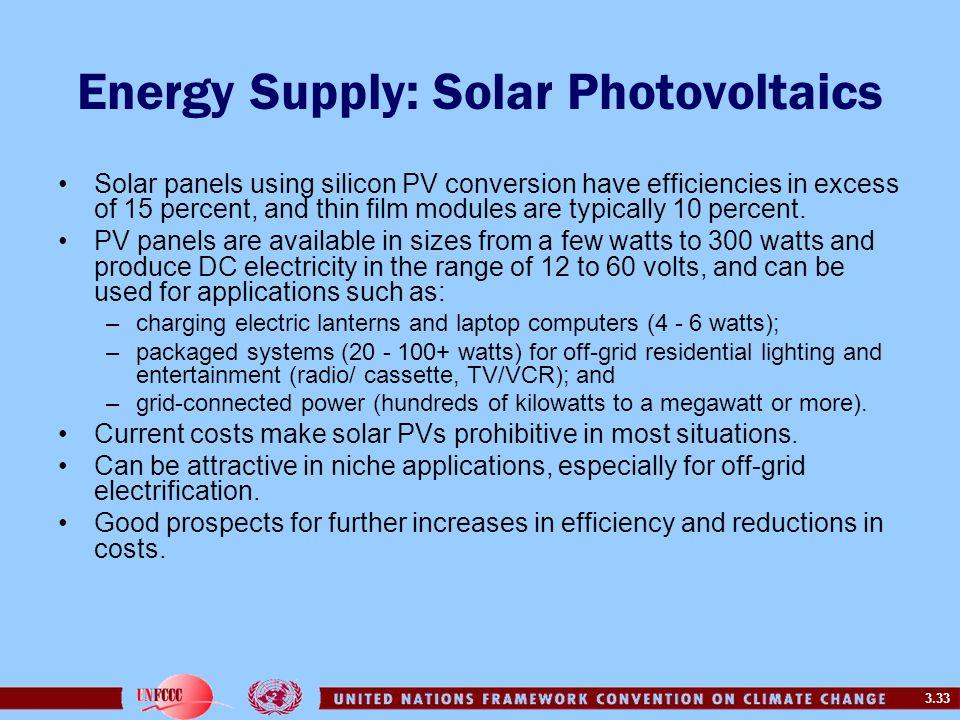 Energy Supply: Solar Photovoltaics
