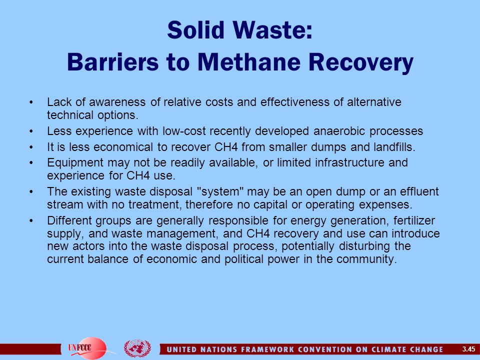 Solid Waste: Barriers to Methane Recovery