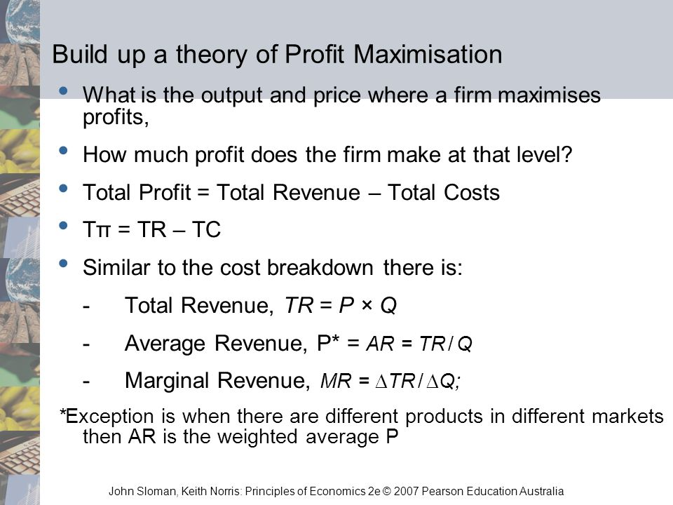 Build up a theory of Profit Maximisation