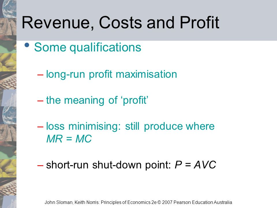 Revenue, Costs and Profit