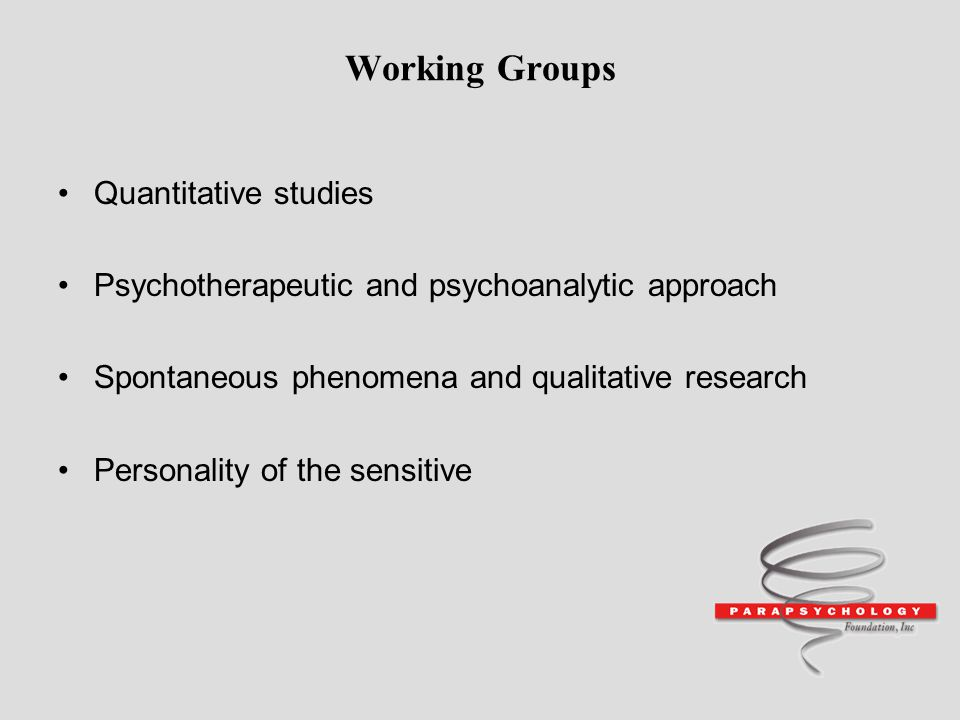 Working Groups Quantitative studies