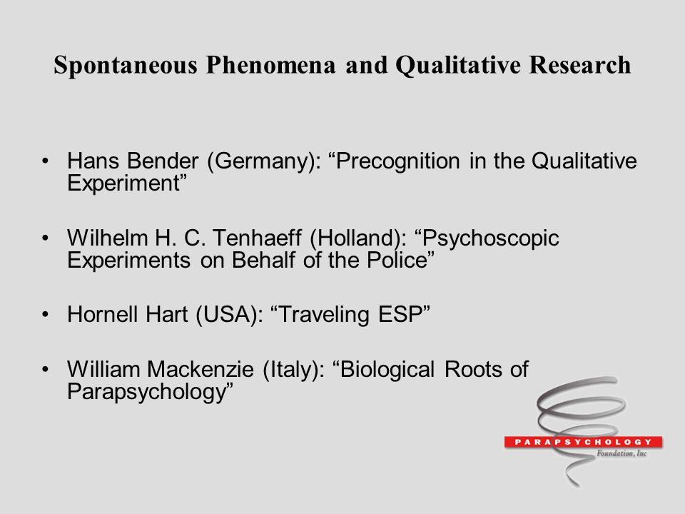 Spontaneous Phenomena and Qualitative Research