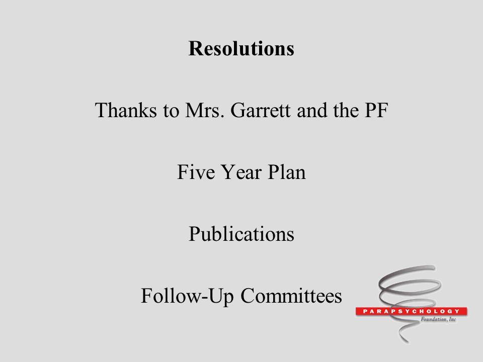 Thanks to Mrs. Garrett and the PF