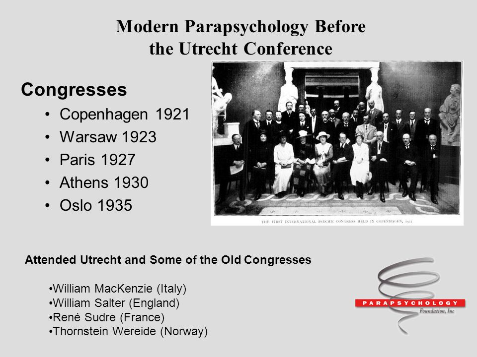 Modern Parapsychology Before the Utrecht Conference