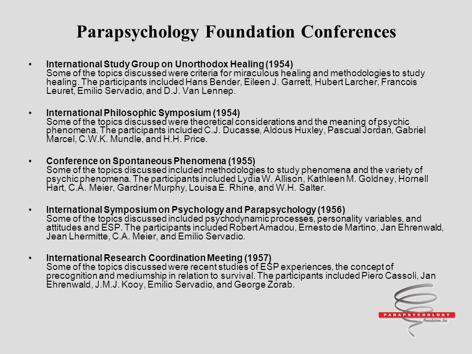 Parapsychology Foundation Conferences