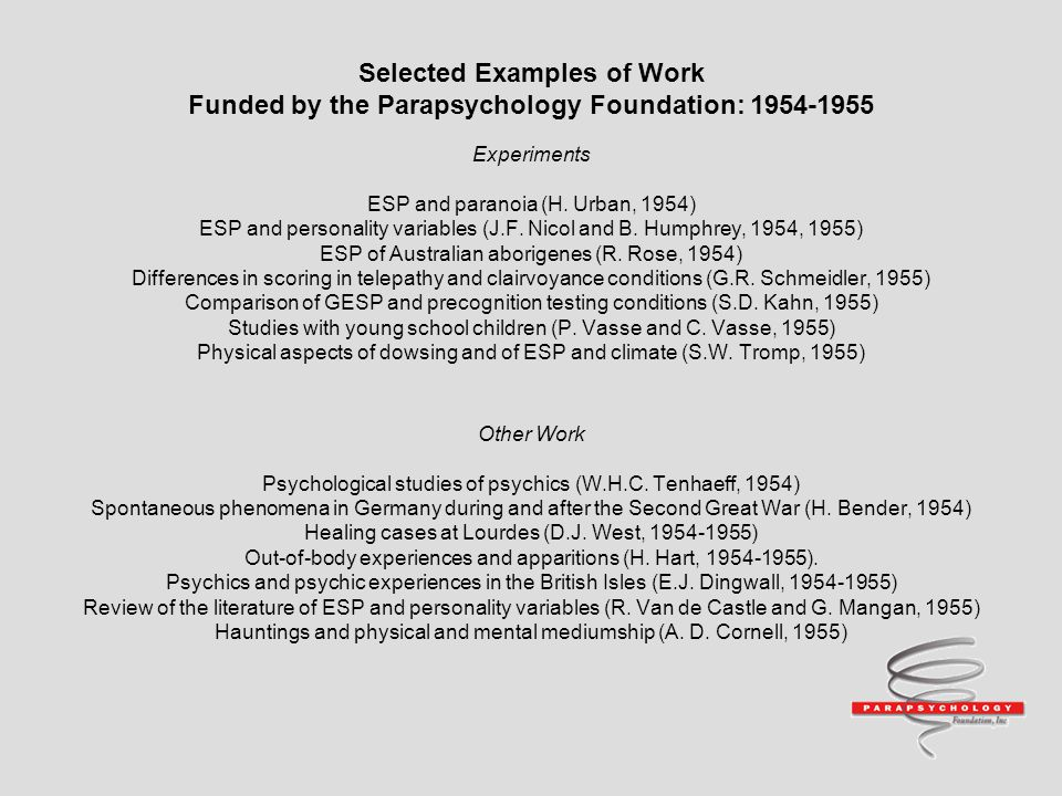 Selected Examples of Work Funded by the Parapsychology Foundation: 1954-1955 Experiments ESP and paranoia (H.