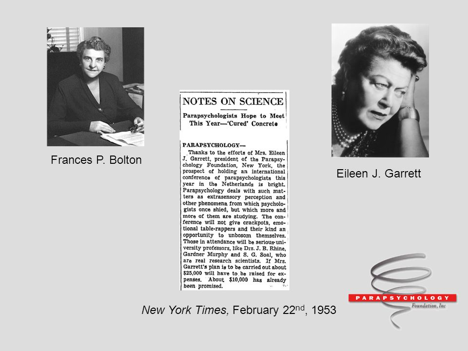 Frances P. Bolton Eileen J. Garrett New York Times, February 22nd, 1953