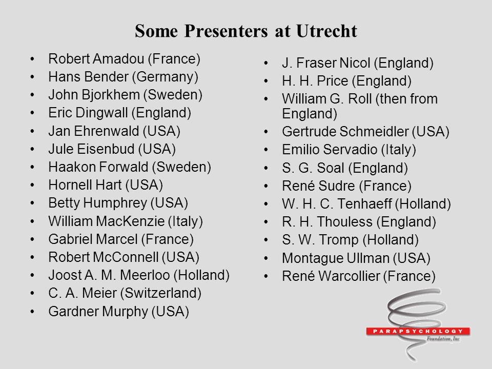 Some Presenters at Utrecht