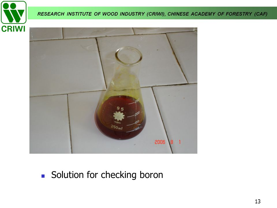 Solution for checking boron
