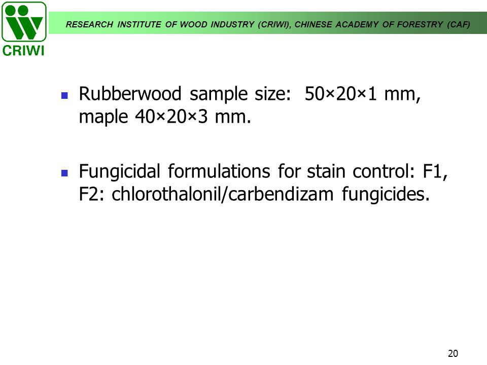 Rubberwood sample size: 50×20×1 mm, maple 40×20×3 mm.