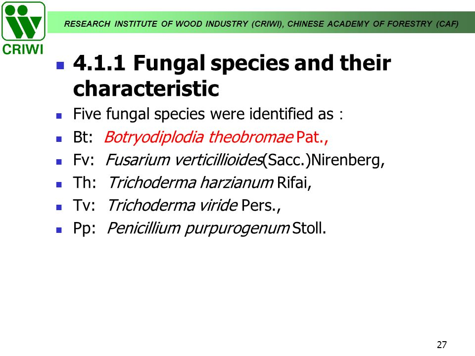 4.1.1 Fungal species and their characteristic