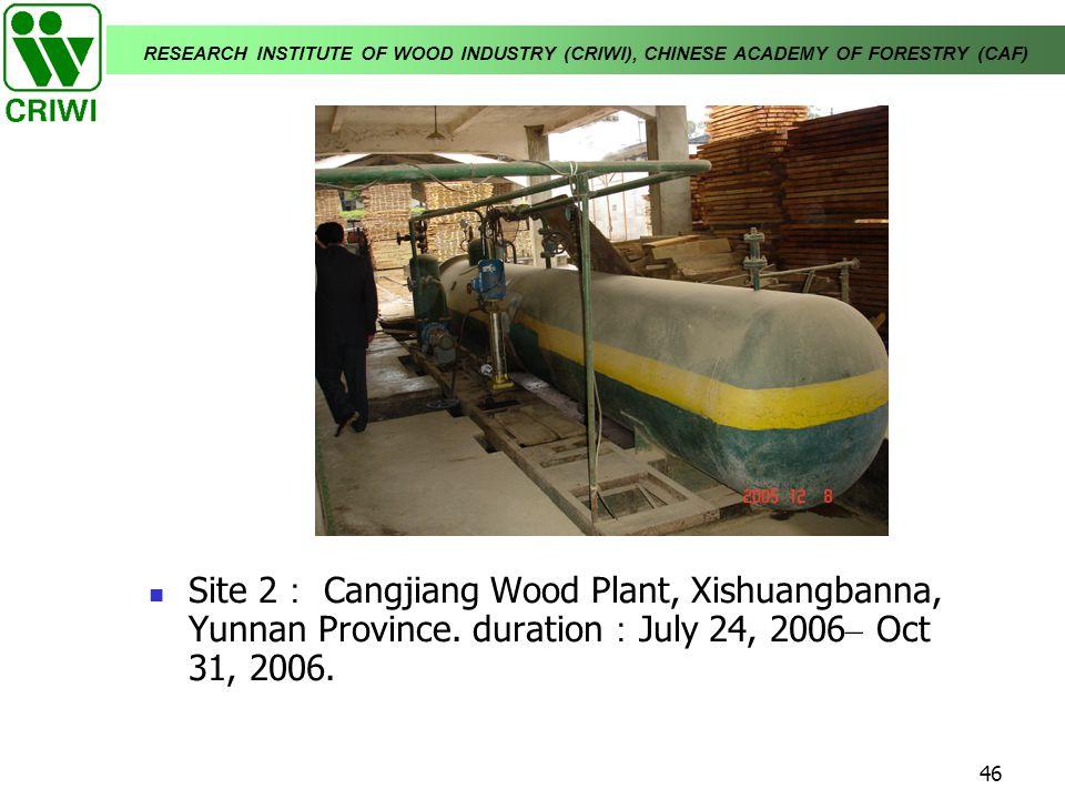 Site 2: Cangjiang Wood Plant, Xishuangbanna, Yunnan Province