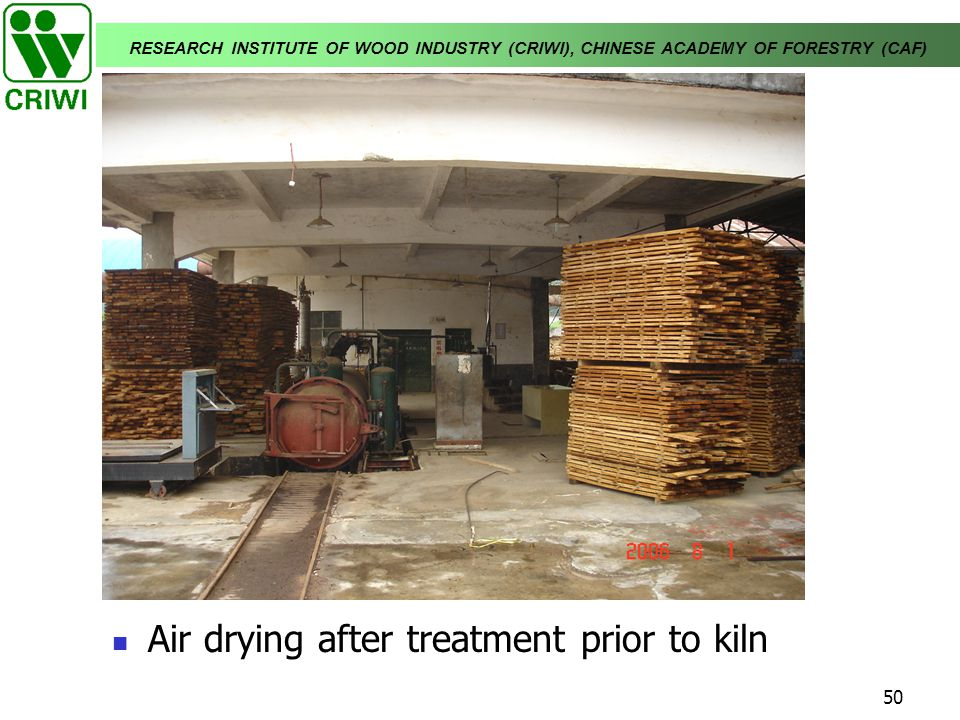 Air drying after treatment prior to kiln