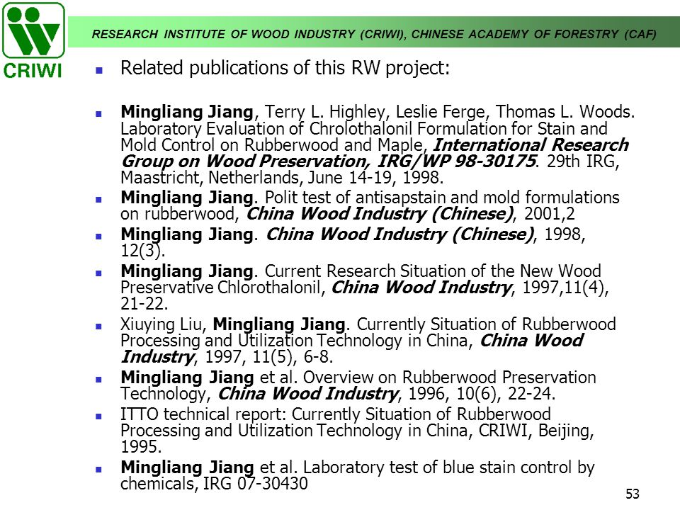 Related publications of this RW project: