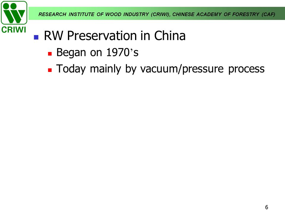 RW Preservation in China